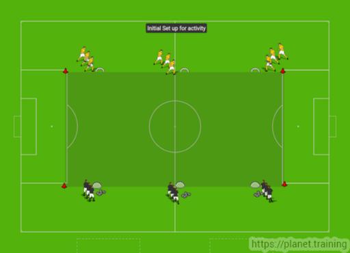 Diagram 17 1 3v3 with three mini goals coaching soccer tactics